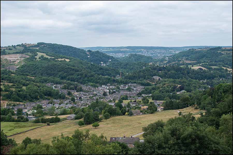 View north from Sheep Pasture winding house looking over Matlock Bath with Riber Castle on the right.