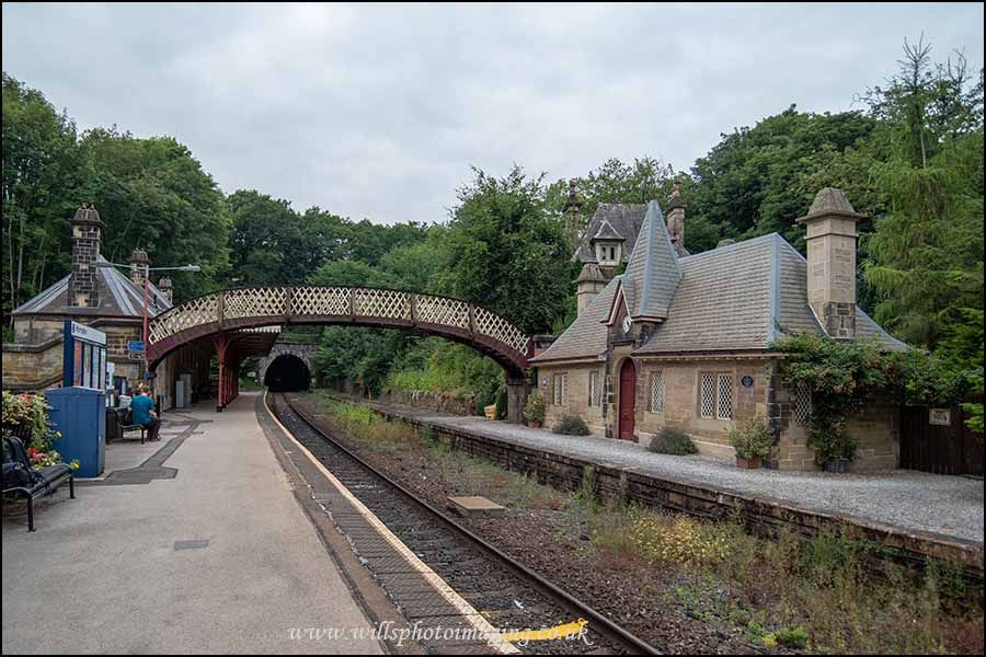 Quaint Swiss styled platform buildings at Cromford Station